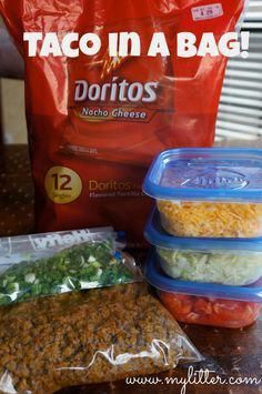 Tacos, in a bag! Great way to pre make the tacos, and bring then with you for the first night you arrive at your campground. The fist night is always the hardest, as you have to unpack, set up, etc... Remember this, for a quick and easy dinner! #camping #outdoors #rvwinterliving
