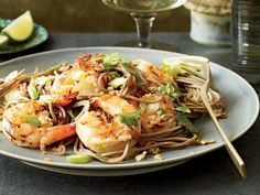 Grillpan Recipes: Soba Noodles with Grilled Shrimp and Cilantro Seafood Dishes, Pasta Dishes, Seafood Recipes, Noodle Recipes, Thai Dishes, Pasta Food, Wine Recipes, Asian Recipes, Cooking Recipes