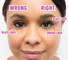 Line the top of your eye with black liner, the bottom with brown, and the waterline with nude.
