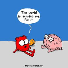 Heart and Brain, The Awkward Yeti Akward Yeti, The Awkward Yeti, Head And Heart, Heart And Mind, Sad Heart, Heart And Brain Comic, 4 Panel Life, I Am Scared, Funny Comics