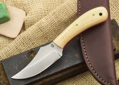 L.T. Wright Knives: Clipper - Snakeskin Micarta - Orange Liners - Saber Ground - D2 Steel $200