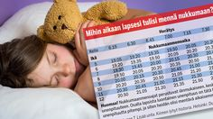 Unitutkija Timo Partonen laati Ilta-Sanomien pyynnöstä vanhempien avuksi uniaikataulun.
