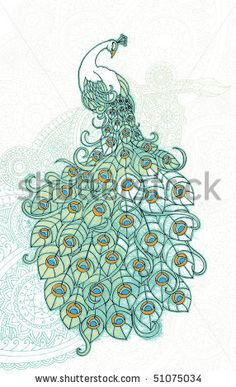 Grunge peacock in front of ornate background - stock vector