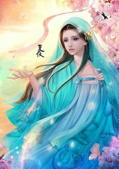 Beautiful Fantasy Art, Beautiful Artwork, Boy Art, Art Girl, Fantasy Samurai, Cherry Blossom Art, Geisha Art, Sr1, Painting Of Girl