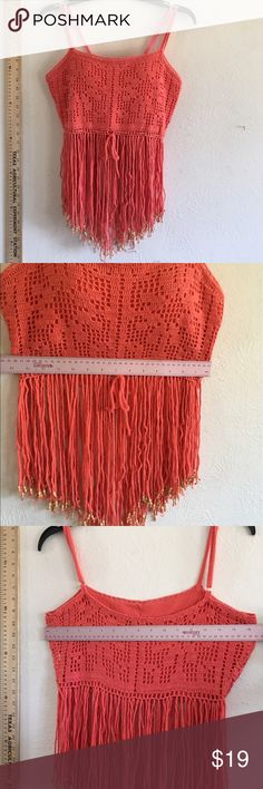 SEXY crochet crop top fringe beads FUN 4 SUN ☀️! Never worn soft coral color crochet cotton adjustable straps top with inner lining on bust except for the bottom under the bodice are strands of yarn friends with beads! Size tag removed measures size medium Tops Crop Tops