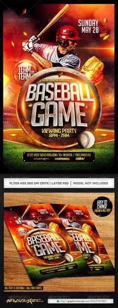 Baseball Flyer Template PSD — Photoshop PSD #industrykidz #sports bar • Available here → https://graphicriver.net/item/baseball-flyer-template-psd/7172103?ref=pxcr