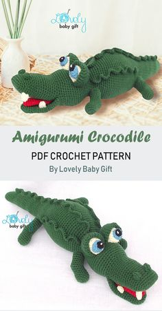 Amigurumi Crochet Pattern to make Crocodile Toy, Alligator, Amigurumi Animal, Crochet Baby Toys, Crochet For Boys, Crochet Patterns Amigurumi, Crochet Gifts, Crochet Animals, Diy Crochet, Crochet Hooks, Baby Shower Gifts For Boys, Baby Gifts