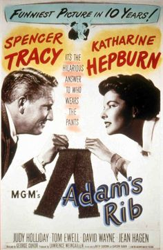 Adam's Rib (Spencer Tracy as Adam Bonner and Katharine Hepburn as Amanda Bonner) Adam's Rib is a 1949 American film written by Ruth Gordon and Garson Kanin and directed by George Cukor. It stars Spencer Tracy and Katharine Hepburn as married lawyers who come to oppose each other in court. Wikipedia