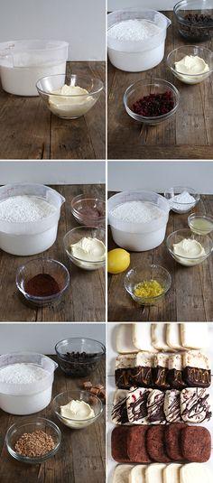 Gluten Free Shortbread Cookies 5 Ways: lemon glazed, toffee caramel, berry chocolate chip, mocha and plain
