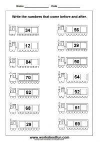 Before and after numbers. Free worksheets.