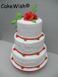 Bruidstaart rood/wit
