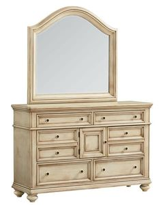 Chateau Traditional Bisque Wood Glass Dresser