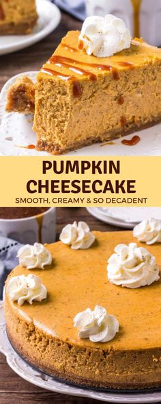 Pumpkin Cheesecake is the perfect dessert for fall & Thanksgiving. It's smooth and creamy with a delicious pumpkin spice flavor and cinnamon graham cracker crust. Serve it with salted caramel sauce and whipped cream for an extra decadent dessert Pumpkin Cheesecake Recipes, Pumpkin Recipes, Cooking Pumpkin, Köstliche Desserts, Dessert Recipes, Health Desserts, Biscuits Graham, Bon Dessert, Dessert Shots