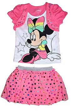 Disney Minnie Mouse Baby Girl T Shirt and Ruffled Mesh Skirt Outfit  Pink * ** AMAZON BEST BUY **
