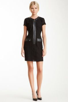 Andrew Marc Marc NY Cap Sleeve Faux Leather Trim Dress by Non Specific on @HauteLook