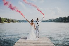 Wedding Photos That Got Crazy Colorful with Smoke Bombs (AKA the Newest Wedding Portrait Trend) | Brides