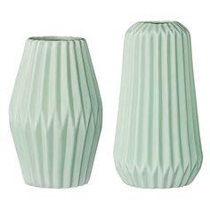 Plissé vas 2-pack, mint i gruppen Inredningsdetaljer / Dekoration / Vaser & Krukor hos RUM21.se (129287)