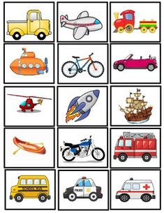 Match the transportation pictures to find the identical ones! Toddler Learning Activities, Preschool Lessons, Kindergarten Activities, Educational Activities, Preschool Activities, Teaching Kids, Kids Learning, Teaching Spanish, Transportation Theme Preschool