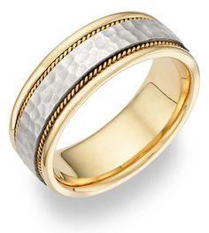 18K Two-Tone Gold Hammered Brushed Wedding Band