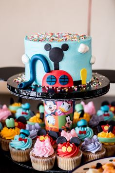 Mouska-cake and cupcakes from Mickey Mouse Clubhouse Themed Birthday Party at Kara's Party Ideas. See all the details at karaspartyideas.com!