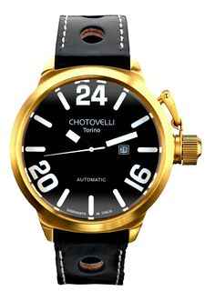 Chotovelli Big Navy 7900 Aviation Watch Gold/Black TS7900-5 U-Boat Homage