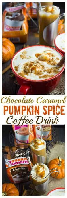 Chocolate Caramel Pumpkin Spice Coffee Drink. Perfectly Spiced Pumpkin with extra Cinnamon mixed with your choice of milk, combined with a Chocolate Donut Flavoured Coffee, whipped cream and Caramel--This is the BEST way to do a coffee drink! Get the reci
