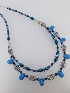 Blue & Silver. Double strand necklace