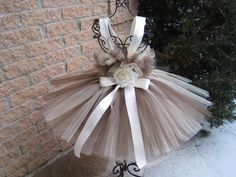 Tutu Dress,  CAPPUCCINO,  Bit of Fluff Stretchy Bodice, for Baby Girls 3-24 Months, First Birthday, Photos, Parties, Gifts.. $50.00, via Etsy.