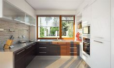 Zdjęcie projektu Endo drewniany BSE1076 Beautiful House Plans, Beautiful Homes, Small Contemporary House Plans, Small U Shaped Kitchens, Sweden House, Home Projects, Kitchen Cabinets, House Design, Home Decor