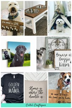 10 gift ideas for dog lovers, dog sign, dog feeder, dog teepee, custom dog portrait, dog mama t-shirt, dog pillow, dog mat
