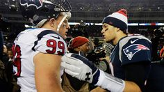 Tom Brady praises former NFL defensive player of the year J.J. Watt's athletic ability and weighs in on Bill Belichick not buying his book.