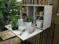 Looking for simple DIY project for the weekend?  How about this great potting cabinet?.   Any suggestions on how this design can be improved? Share them with us in the comments section! on The Owner-Builder Network  http://theownerbuildernetwork.com.au/wp-content/blogs.dir/1/files/storage-ideas-1/potting1.jpg