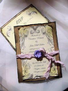 Lavender / purple Wedding Invitation Suite/ Vintage inspired. $4.75, via Etsy.