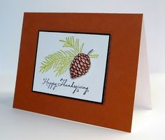 Clean and Simple Cards —elegant pinecone and evergreen branch