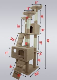 New Cat Tree 69 Tall Level Condo Furniture Scratching Post Pet House LT Brown in. - Van - New Cat Tree 69 Tall Level Condo Furniture Scratching Post Pet House LT Brown in. Cat Tree Condo, Cat Condo, Diy Cat Tower, Condo Furniture, Cat Towers, Cat Scratcher, Hamster, Cat Room, Scratching Post