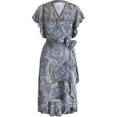 ZIMMERMANN Havoc Wrap Flounce Dress (24 440 UAH) ❤ liked on Polyvore featuring dresses, paisley dress, flounce hem dress, flutter-sleeve dress, v-neck dresses and ruffle wrap dress