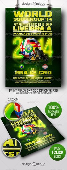 World Soccer Cup Flyer Template by Design-Cloud The World Soccer Cup Flyer Template is perfect for any Soccer / Football or sports related event. Easily customize your flyer to p