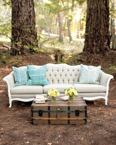 Comfortable Seating - Eleanor vintage sofa - soft grey with brown trim - Harold Trunk from 428 Main vintage rentals - Custom pillows