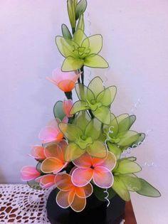 Nylon Flowers, Diy Flowers, Nylon Stockings, Flower Crafts, Diy And Crafts, Plants, Silk Stockings, Flower Arrangements, Ideas