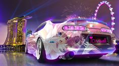 Lovely Toyota Supra JDM Tuning 3D Anime Girl Aerography  Great Ideas