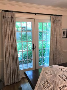 Take time to smell the flowers! These beautiful pinch pleat drapes in Royal Cloud Linen frame out our client's dining room French doors which lead out to a lush English Garden. Dining Room Drapes, Curtains Living, Drapery Styles, French Doors, Lush, Living Rooms, Cloud, English, Frame