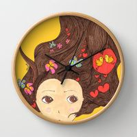 "Wall Clocks by Vebeche | Society6  ""pajaritos en la cabeza"""