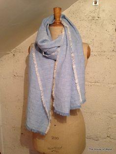 Cornflower Blue Weave Linen Blend Lucy Scarf  A light - medium weight linen blend with weave detail in a beautiful cornflower blue colour  55%