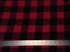 Black / Red Buffalo Extra Large Plaid Flannel Fabric