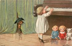 girl playing piano, dolls below, dachshund behind curtain