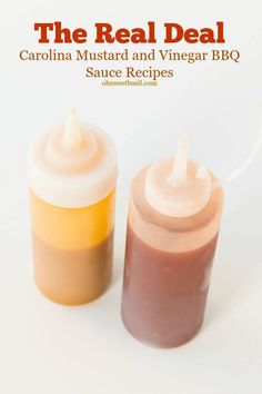 No bbq is complete without Carolina Mustard BBQ Sauce and Vinegar Sauce. One is a little thick and the other has a tiny kick!