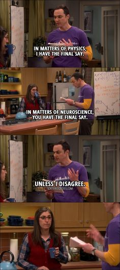 Quote from The Big Bang Theory 10x19 │  Sheldon Cooper (to Amy): I believe I've made some progress on our ground rules. Number one: in matters of physics, I have the final say. In matters of neuroscience, you have the final say. Unless I disagree.