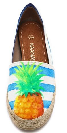 Tropical blue espadrilles with pineapple