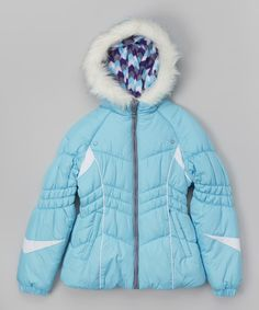 Look at this London Fog Aqua & Black Arrow Puffer Jacket - Girls on #zulily today!
