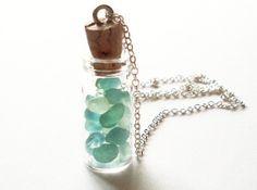 Seafoam Seaglass Necklace - Blue Green Sea Glass - Mermaid Tears Bottle - Mint Sea Foam - Cute - Adorable - Whimsical - Whimsy - Dreamy